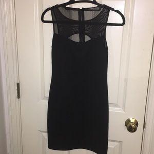 Black bodycon dress with mesh